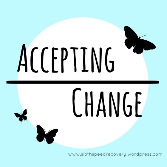 accepting change. white circle on blue background. butterfly silhouettes. www.slothspeedrecovery.wordpress.com sloth speed recovery